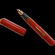Vintage Cherry Red Plastic Fountain Pen w/ 14K Nib
