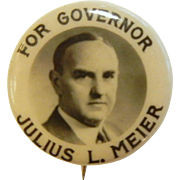 Vintage Irwin-Hodson Company Pin - Julius L. Meier For Governor Oregon
