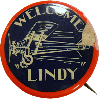 """Vintage Spirit of St. Louis Pin - """"Welcome 'Lindy'"""""""
