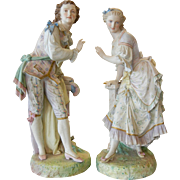"""Pair of Antique French Jean Gille Porcelain Statuettes Figurines Tall  29"""""""