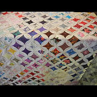 Vintage Hand Made Multi Color Quilt