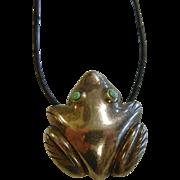 Vintage Sterling Silver Frog Fetish Pendant