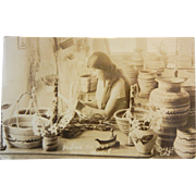 "Vintage Original Photograph Postcard - ""Indian Basket Weaver"""