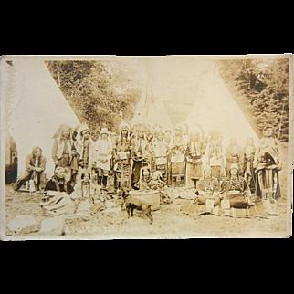 Vintage B&W Photo Postcard - Oregon Native American Indians