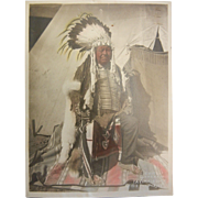 Vintage Original 1915 C.H. Lovejoy Colorized B&W Photograph - Chief of Long Hairs Yakima Natives