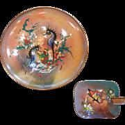 Vintage Enameled Copper Bowl & Dish w/ Seahorses & Butterflies