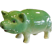Vintage Occupied Japan Green Porcelain Pig Family - Set of 7