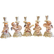 Vintage Occupied Japan Porcelain Figurines - Cherubs Playing Instruments