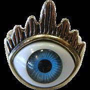 Unique Silver-Tone Ring w/ Blue Glass Eye