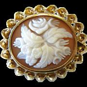 Lovely Old Vintage Gold Filled Brooch w/ Carved Floral Cameo