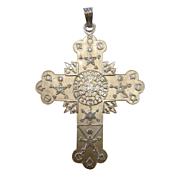 Unique Large Vintage Sterling Silver Hermetic Rose Cross Necklace Pendant