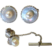 Fine old Vintage Mother of Pearl & Silver Cuff Links & Tie Tack Set