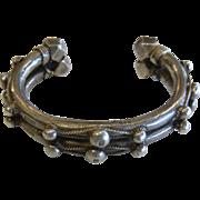 Unique Tribal Hallmarked Heavy Sterling Silver Ornate Cuff Bracelet