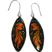 Vintage Hand Painted Russian Lacquer Earrings