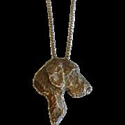 Vintage Sterling Silver Terrier Dog Pendant Necklace