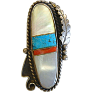 Vintage Native American Sterling Silver Ring w/ Inlaid Mother of Pearl, Turquoise, Coral