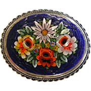 Vintage Italian Micro Mosaic Brooch Blue w/ Floral Design