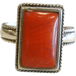 Vintage Natural Coral Sterling Silver Ring - Size: 8