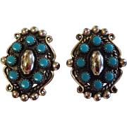 Vintage Sterling Silver Turquoise Clip Earrings
