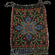 Old Vintage 1920's Multi Color Small Bead Beaded Handbag