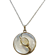 Unique Quartz & Moonstone Sterling Silver Pendant Necklace