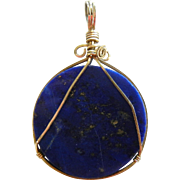 Fine Gold Wired Natural Lapis Lazuli Stone Pendant