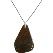 Natural Vintage Green and Red Fine Large Heliotrope Bloodstone Pendant w/ Sterling Silver Chain