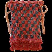 Old Vintage Beaded Red & Black Checkered Handbag or Purse
