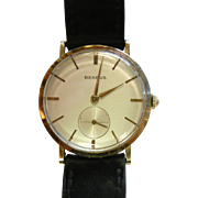 Vintage BENRUS 14K Gold Wrist Watch w/ Black Leather Band