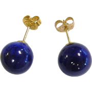 Fine 14K Lapis Lazuli Stud Bead Earrings