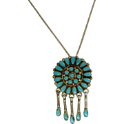 Vintage Native American RQ Sterling Silver Petite Point Turquoise Pendant/Brooch