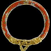Vintage Red/Gold-Tone Cloisonne Hinged Bracelet w/ Dragons