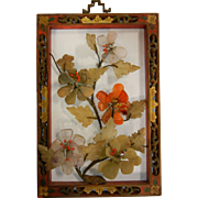 Vintage 1920's Chinese Asian Framed Natural Stone Floral Wall Decor