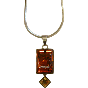 Vintage Sterling Silver Polished Two-Tone Amber Pendant Necklace
