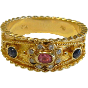 Stunning Vintage Greek 18K Gold Diamond, Sapphire, Ruby Ring - Size: 8