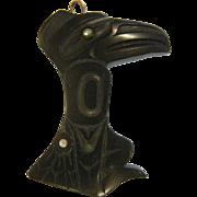 Vintage Hand Carved Argillite Raven Pendant by Cooper Wilson