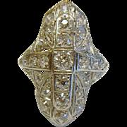 Art Deco Filigree European Cut Diamond Platinum Ring - Size: 3.25