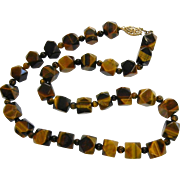 Unique Geometric Cut Natural Tiger's Eye Bead Necklace
