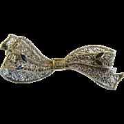 Fine Vintage 14K White Gold Filigree Brooch w/ Blue Sapphires & Diamond