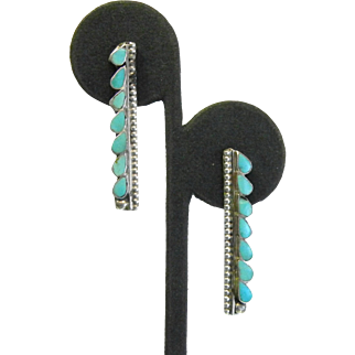 Vintage Native American Sterling Silver Turquoise Earrings