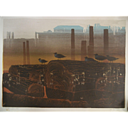 """Vintage Signed Watercolor Print by Elton Bennett - """"The Watchers"""""""