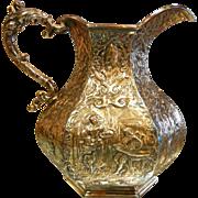 Ornate Antique Hallmarked Silver Plate Figural Pitcher