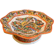 Vintage 1000 Butterfly Miniature Enameled Chinese Porcelain Tazza Dish