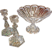 Outstanding and Rare Size Antique American Flint Glass Centerpiece Bowl & Candlesticks