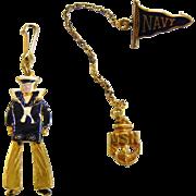 Vintage Blue Enamel USN Navy Pin & Charm