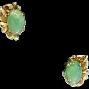 Fine Vintage Pierced 14K Natural Green Jade Earrings