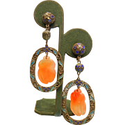 Antique Chinese Blue Enameled Screw Back Earrings w/ Carved Carnelian