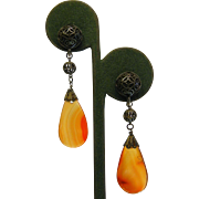 Vintage Chinese Silver & Natural Carnelian Screw-Back Earrings