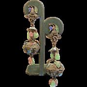Vintage Chinese Enameled Screw-Back Earrings w/ Natural Gemstones