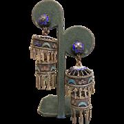 Vintage Chinese Silver Enameled Chandelier Screw-Back Earrings